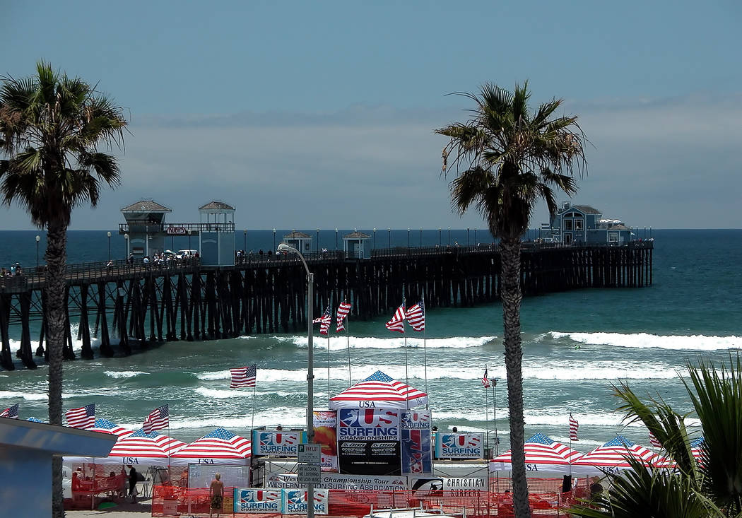 Gary Bennett/Special to the Pahrump Valley Times Surfing America Surfing Championships in Oceanside, Califonia in mid-June 2017. The event was held near the Oceanside Pier, one of the longest pier ...