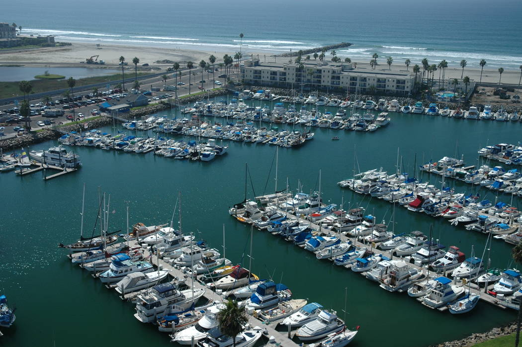 Gary Bennett/Special to the Pahrump Valley Times Aerial view of Oceanside Harbor in Oceanside, California. The harbor is home to dozens of watercraft.
