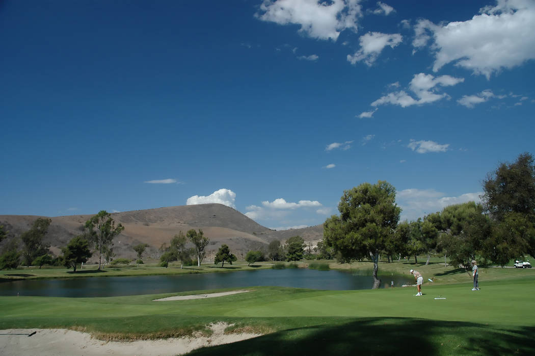 Gary Bennett/Special to the Pahrump Valley Times The 18th hole at Oceanside Municipal Golf Course at 825 Douglas Drive in Oceanside, California. On the other side of the hills is Camp Pendelton Ma ...