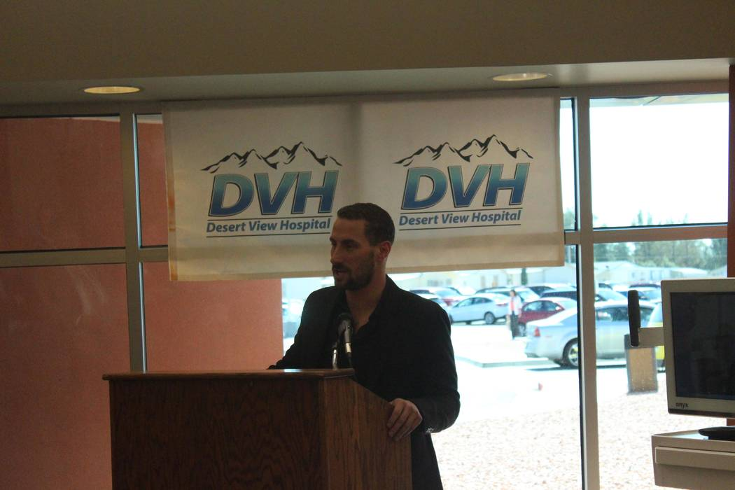 Jeffrey Meehan/Pahrump Valley Times  Adam Kramer, executive vice president of strategy at Switch, speaks about the company's collaboration with the Nevada Hospital Association at Desert View Hospi ...