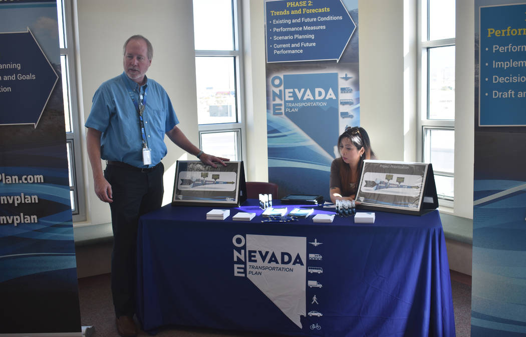 Daria Sokolova/Pahrump Valley Times Coy Peacock, assistant chief for multi-modal program development at the Nevada Department of Transportation, and Chruszet Ledesma, transportation planner for mu ...