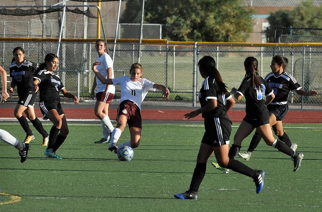 Horace Langford Jr./Pahrump Valley Times  Freshman midfielder Madelyn Souza takes the ball downfield against the Jaguars on Tuesday.
