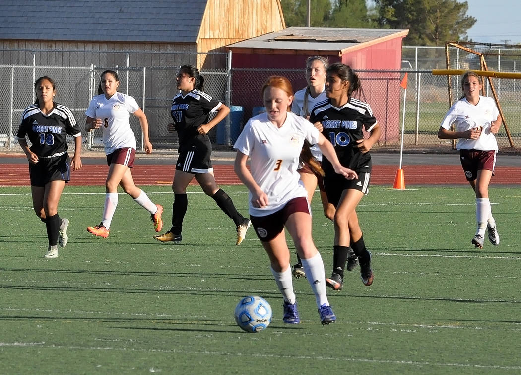 Horace Langford Jr./Pahrump Valley Times  Kaitlyn Carrington takes the ball downfield for Pahrump Valley. She led the team with five goals in that game against Desert Pines.