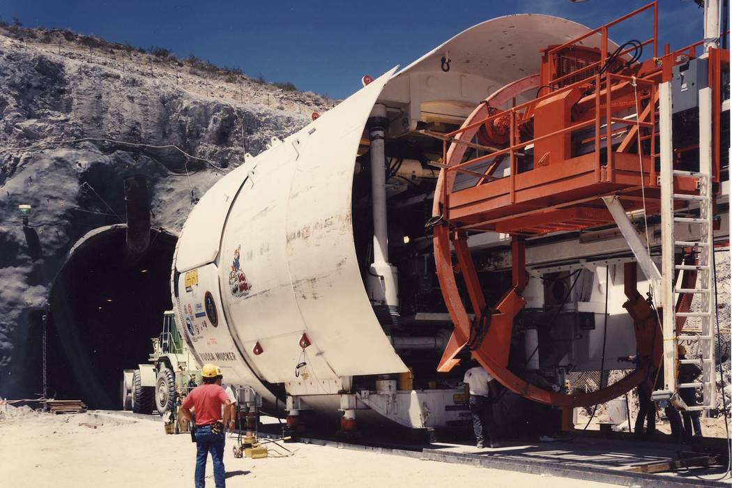 U.S. Department of Energy file photo The Yucca Mucker, which bore the tunnel through Yucca Mountain for a nuclear waste repository.