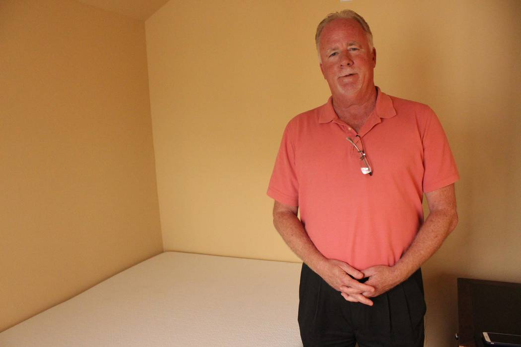 Jeffrey Meehan/Pahrump Valley Times John McCormick, general manager of the Mizpah Hotel, stands inside a single unit at Tonpah's new hostel project at the southeast corner of Brougher Avenue and M ...