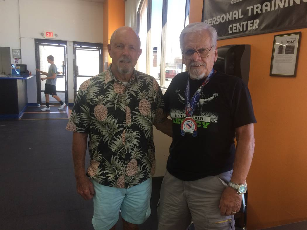 Vern Hee/Pahrump Valley Times  Power lifters Mike Haigwood, left, is 75, and Bill Prince is 80. Both took first place at the Rio Hotel and Casino in the 2017 Amateur Athletic Union Hi-Temp World P ...