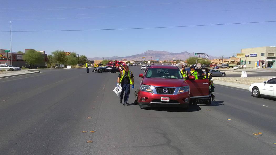 Woman injured in Pahrump motorcycle crash