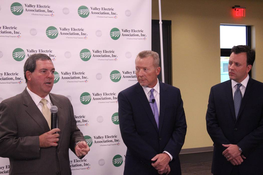 Jeffrey Meehan/Pahrump Valley Times Calvin Crowder, Gridliance president (left), Thomas Husted, CEO of Valley Electric Association (center) and Justin Campbell, president of GridLiance West Utilit ...
