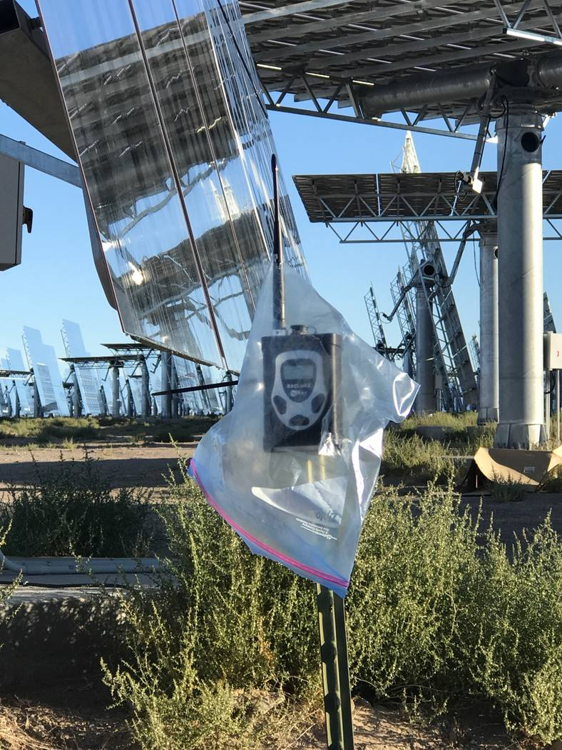 Special to the Pahrump Valley Times A monitor used for detecting nitrogen dioxide at Crescent Dunes Solar Energy Project near Tonopah is covered by a plastic bag in the photo provided by Tim Stive ...