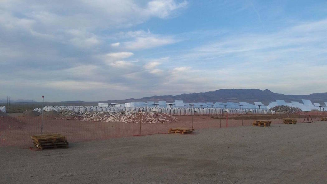 Special to the Pahrump Valley Times Stiver said bags with salt that leaked from hot salt tank are sitting outside of Crescent Dunes Solar Energy Project. Stiver said the bags are emitting NOx, whi ...