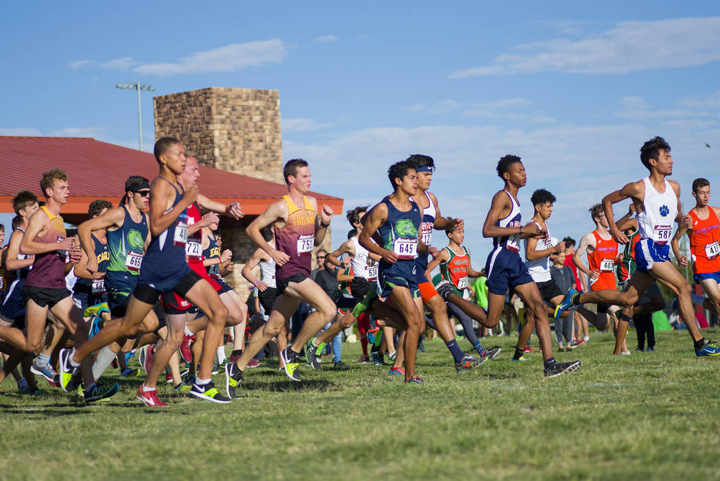 Skylar Stephens/Special to the Pahrump Valley Times Bryce Odegard (751) runs in the middle of the pack at the start of the UNLV Invitational. Odegard took third in the 5,000-meter race.