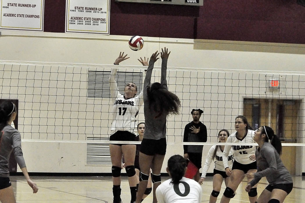 Horace Langford Jr./Pahrump Valley Times Sophomore Kylie Stritenberger is ready to spike the ball against Mojave on Tuesday night. The Trojans host Cheyenne at 6 p.m. on Monday.