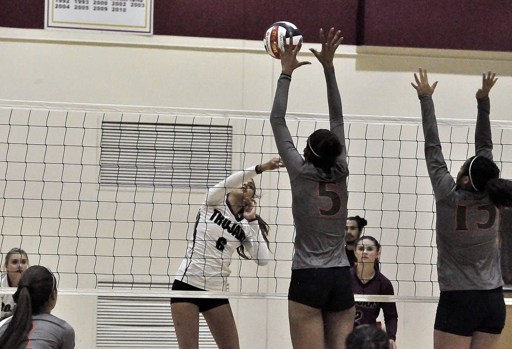 Horace Langford Jr./Pahrump Valley Times  Freshman Trojans player Nicky Velazquez goes high against Mojave. The girls beat the Rattlers in three sets.