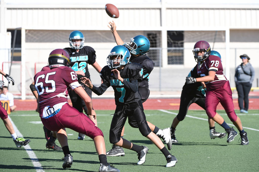Peter Davis/Special to the Pahrump Valley Times  Quarterback Roman Roberts passes the ball downfield for the Sharks. The team had problems both passing and rushing the ball.