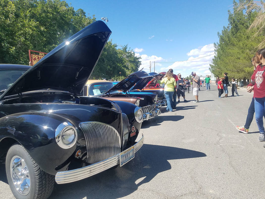 David Jacobs/Pahrump Valley Times Classic cars are lined up next to Petrack Park on Saturday, Sept. 23 during the annual Pahrump Fall Festival. The vehicles represented several decades worth of hi ...
