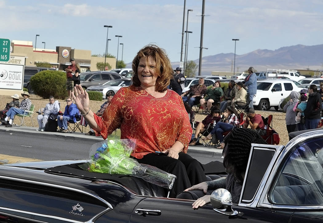 Horace Langford Jr./Pahrump Valley Times - KPVM News 46's Deanna O'Donnell was chosen as the 2017 Pahrump Fall Festival Grand Marshall. Prior to the event, O'Donnell was working on her crowd wave. ...