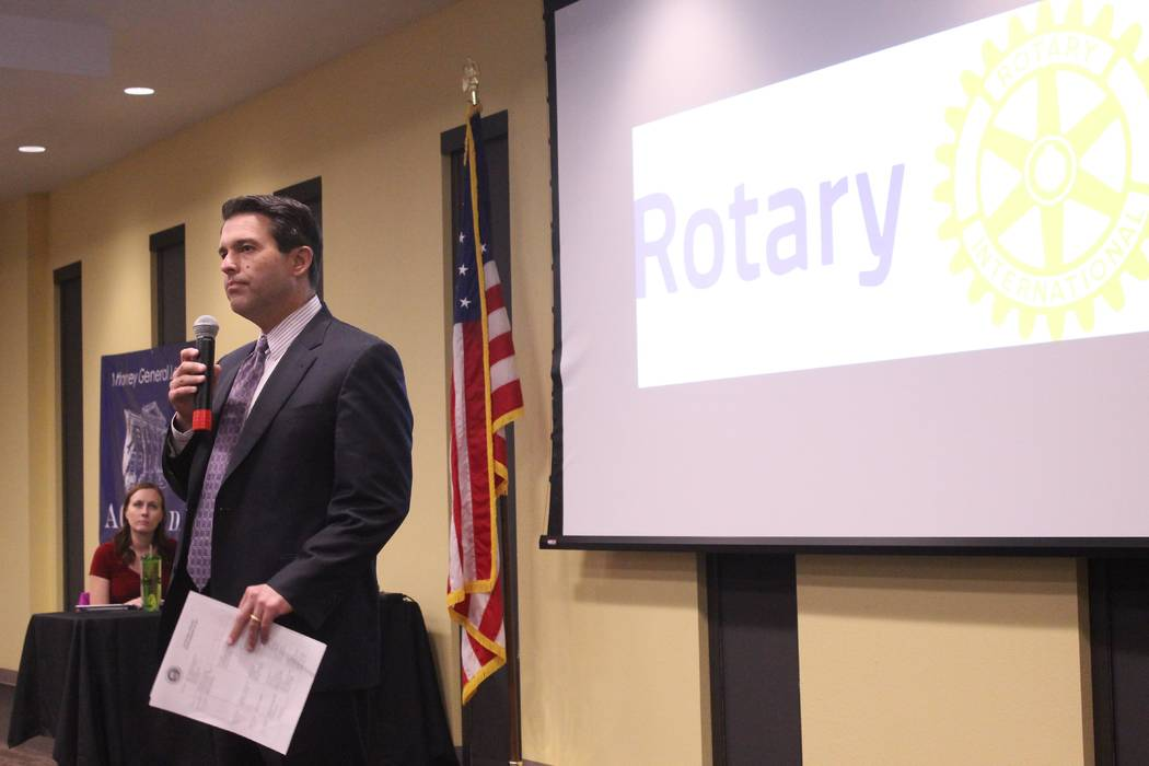 Jeffrey Meehan/Pahrump Valley Times Brin Gibson, chief deputy, gaming division at the Nevada Attorney General's office speaks to members of the Rotary Club of Pahrump Valley, Valley Electric Assoc ...