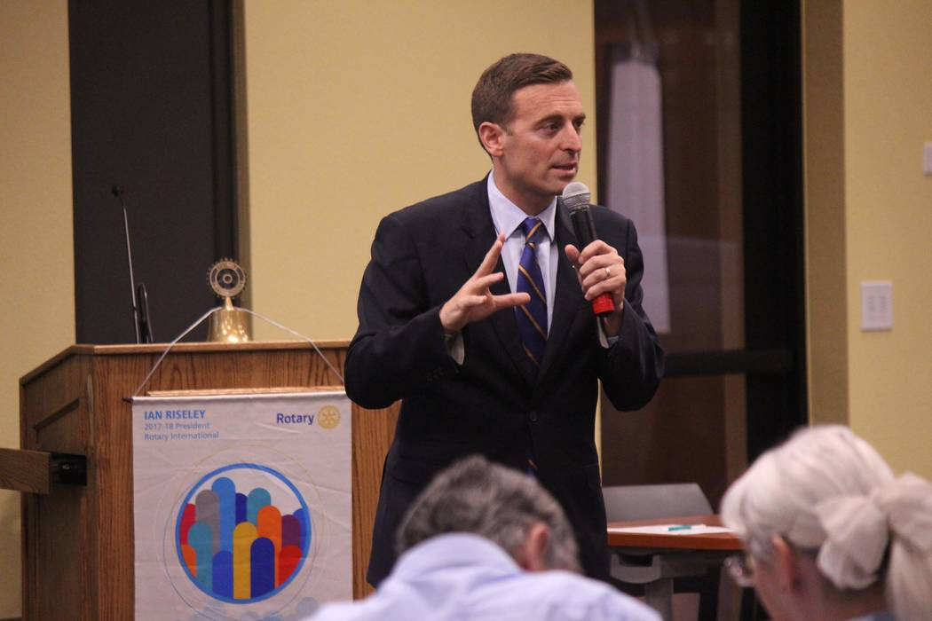 Jeffrey Meehan/Pahrump Valley Times Nevada Attorney General Adam Laxalt speaks during the meeting of the Rotary Club of Pahrump Valley on Sept. 26, 2017 at Valley Electric Association's conference ...