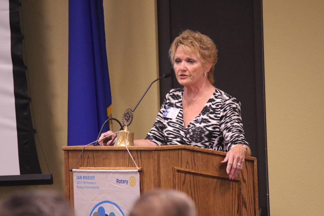 Jeffrey Meehan/Pahrump Valley Times Phyllis Deal, president of the Rotary Club of Pahrump Valley, speaks at the Rotary's regular meeting at Valley Electric Association's conference center at 800 E ...
