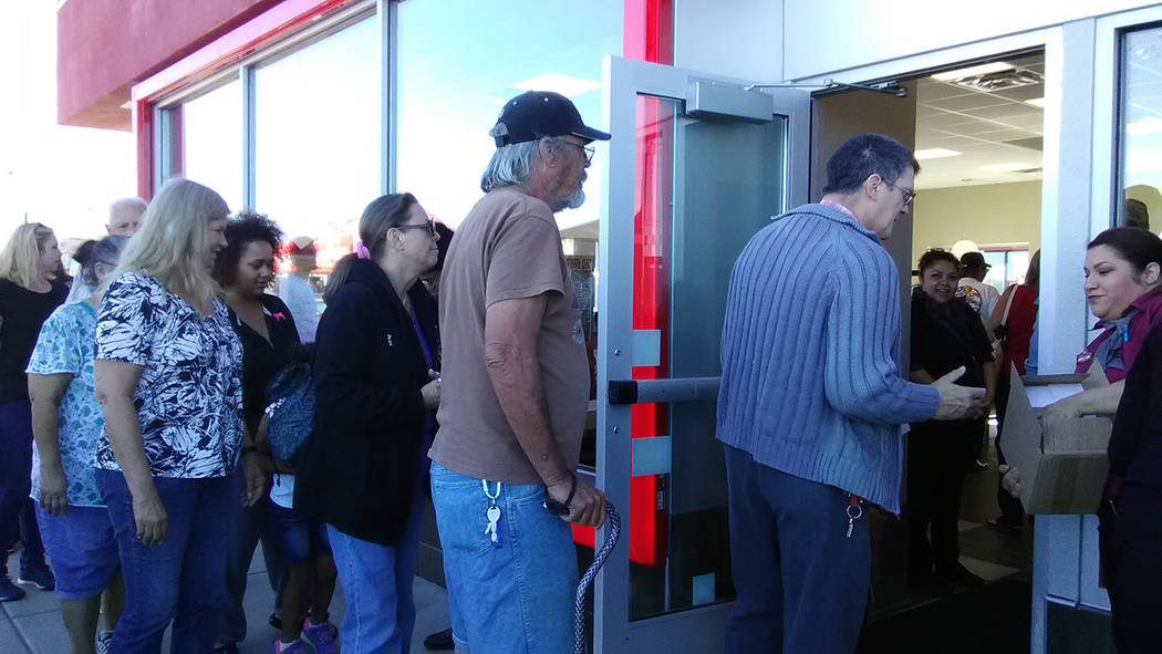 Selwyn Harris/Pahrump Valley Times  Individuals and families were treated to a free mug upon entering the newly opened Jack in the Box at 640 S. Highway 160, between China Wok Buffet and Tire Work ...