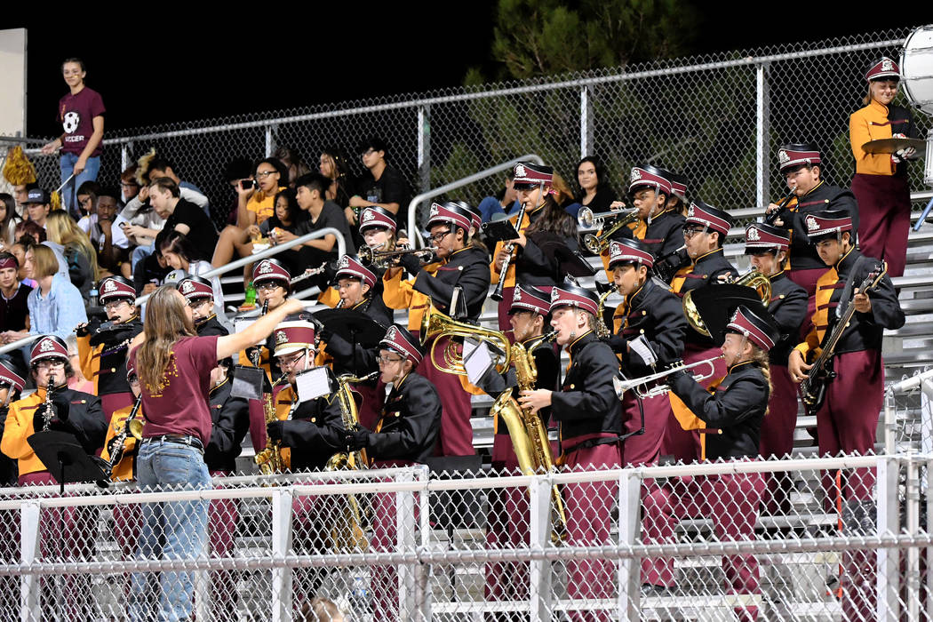 Peter Davis/Special to the Pahrump Valley Times  The Trojans marching band showed off their new uniforms at last week's home game.
