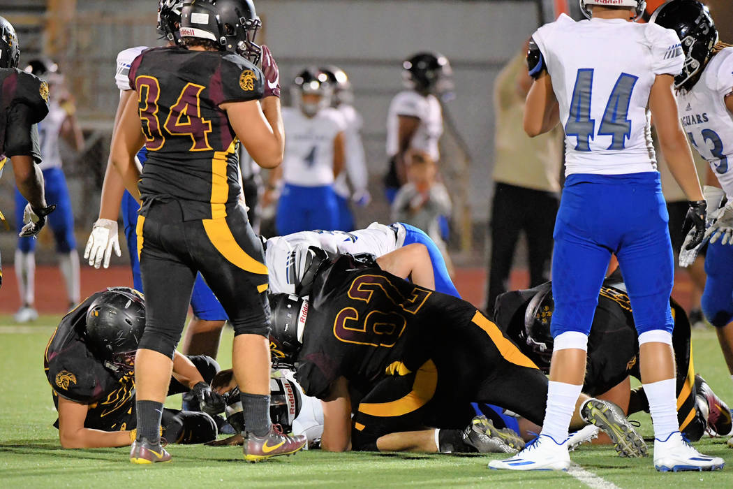Peter Davis/Special to the Pahrump Valley Times  Jeremy Albertson and his fellow defensive linemen were able to pressure the Desert Pines quarterback all night long, resulting in several sacks.