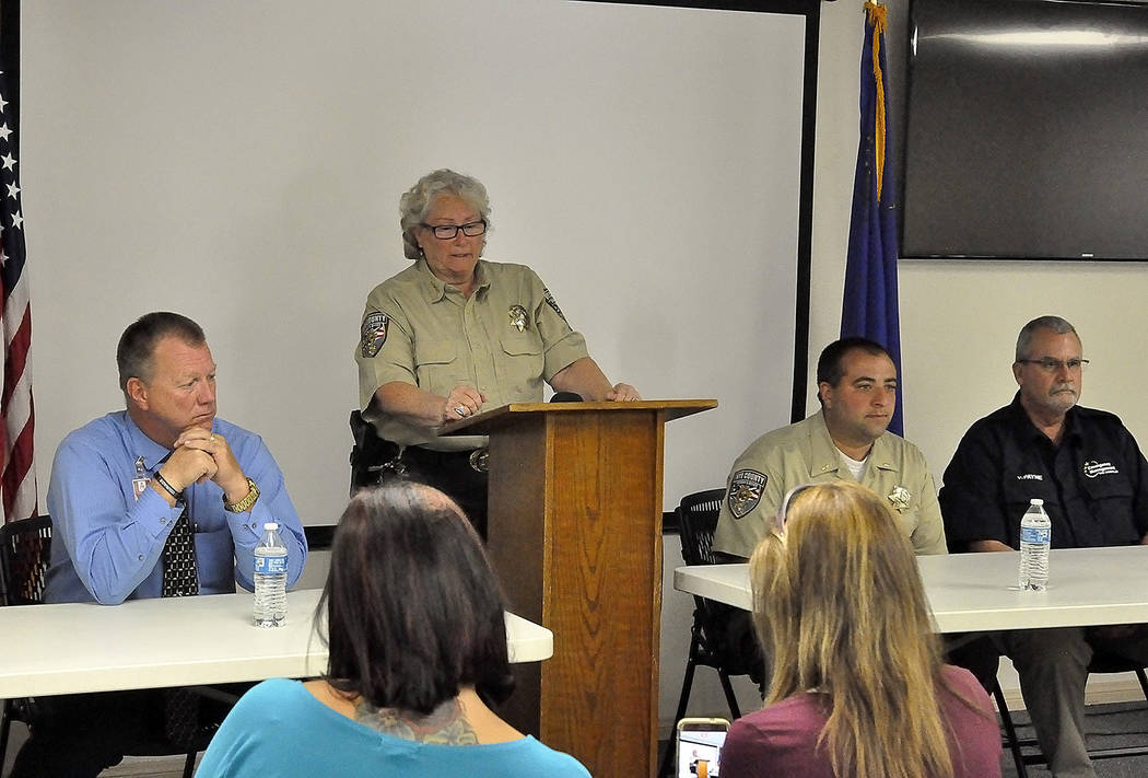 Horace Langford Jr./Pahrump Valley Times -  RCMS Lockdown Monday, Press Conference, NCSO Sheriff Sharon Wehrly