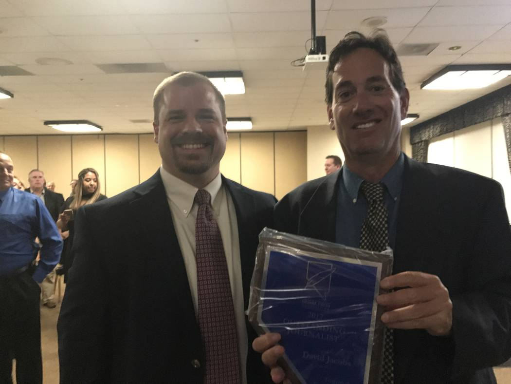 Special to the Pahrump Valley Times  Noah Cusick (left), publisher of the Tonopah Times-Bonanza and Goldfield News and Pahrump Valley Times, with David Jacobs (right), recipient of a 2017 Outstand ...