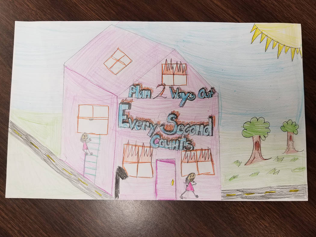 Selwyn Harris/Pahrump Valley Times Hafen Elementary Fifth grader Angelina Valdez earned top honors for the state's 2017 Fire Prevention Week contest. Valdez said it took her roughly two weeks to c ...