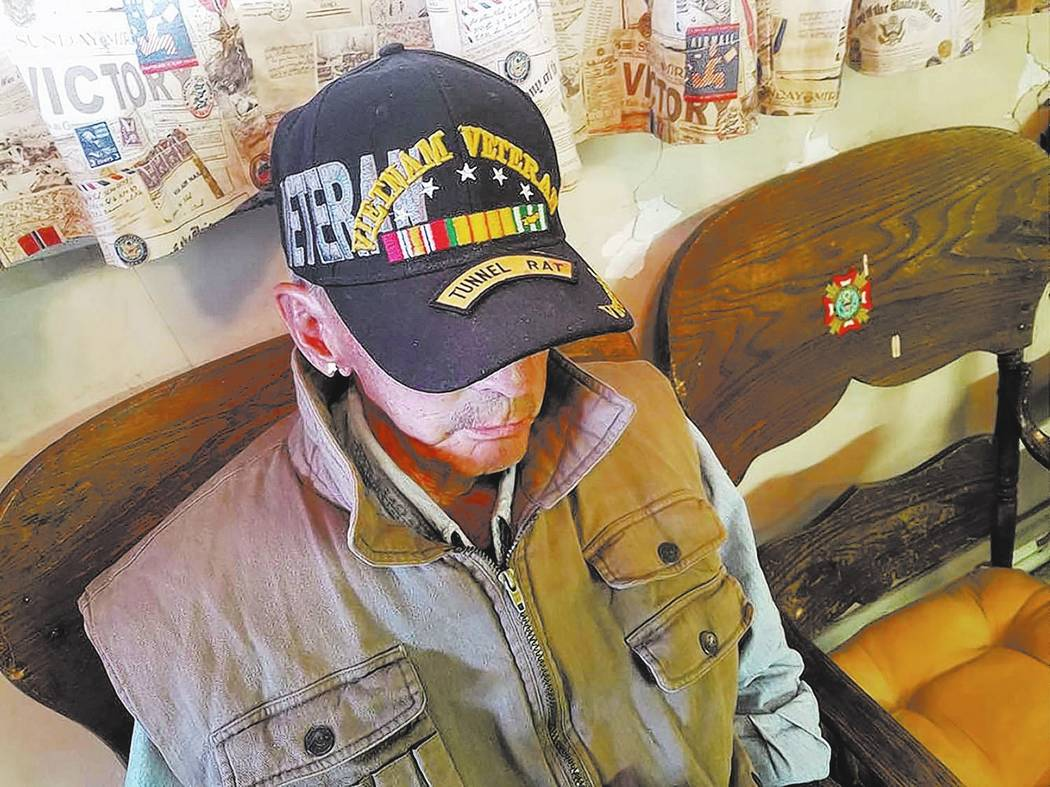 David Jacobs/Pahrump Valley Times This 2016 photo shows Fearless Fredy King is a Vietnam veteran who served in combat as a Tunnel Rat. He is a former Tonopah resident. In this photo, he is shown a ...