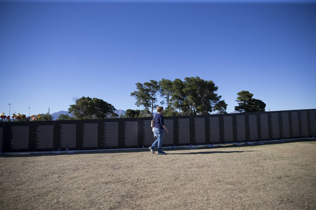 Erik Verduzco/Las Vegas Review-Journal A replica of Vietnam Veterans Memorial Wall hosted by the American Veterans Traveling Tribute is shown at Craig Ranch Park on Friday, May 19, 2017 in North L ...