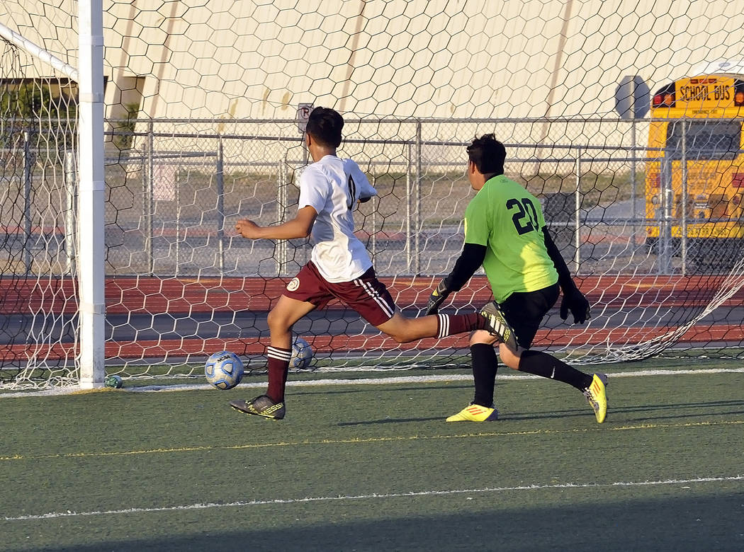 Horace Langford Jr./Pahrump Valley Times  Junior Alvaro Garcia led his team in scoring against Mojave with two goals. His second goal of the night tied the game up at 4.