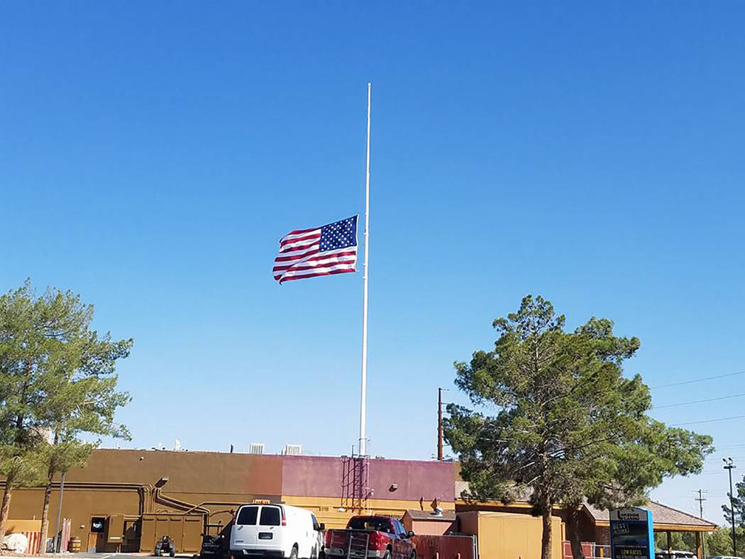 David Jacobs/Pahrump Valley Times The American flag is flying at half-staff in Pahrump in memory of the victims of the mass shooting in Las Vegas. President Donald Trump and Nevada Gov. Brian Sand ...