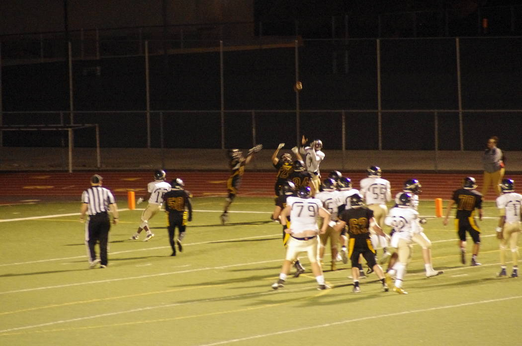 Vern Hee/Pahrump Valley Times Trojans defense breaks up a Cheyenne pass in the end zone early in the fourth quarter on a fourth-down play. Cheyenne had taken over the ball in the fourth quarter on ...