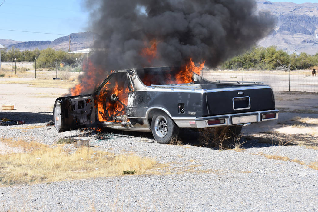 Special to the Pahrump Valley Times  Pahrump fire crews were dispatched to an early afternoon vehicle fire along the 2300 block of North Linda Street, just on Wednesday Sept. 27. The fire was quic ...