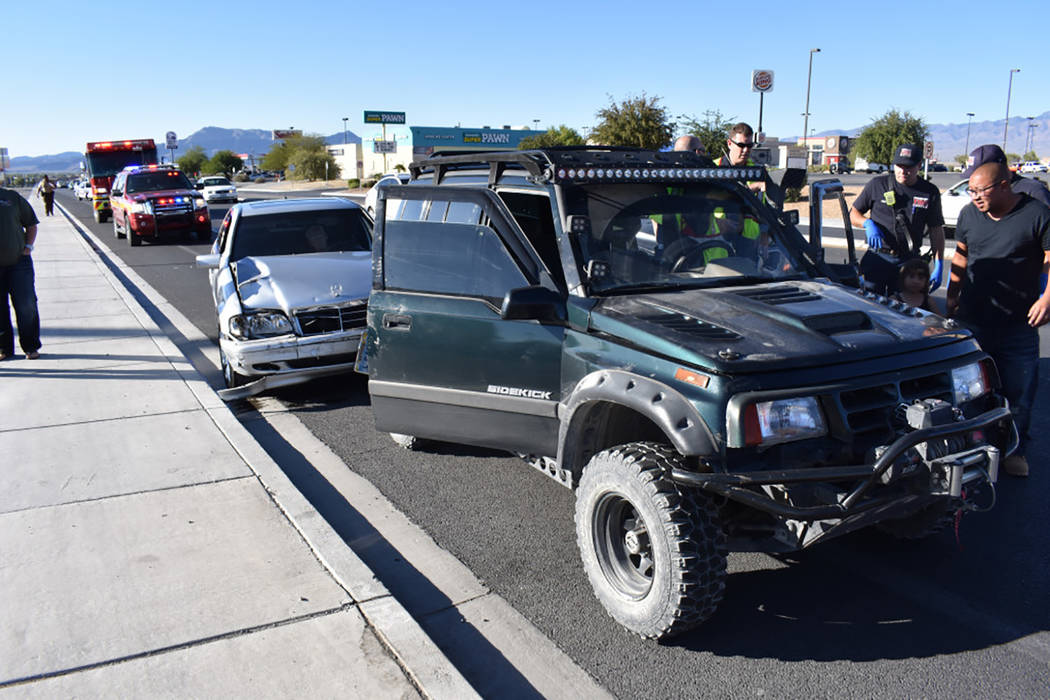 Special to the Pahrump Valley Times  No serious injuries resulted from a two-vehicle collision along Highway 160 just north of Highway 372, last Friday Sept. 29. Both vehicles sustained substantia ...