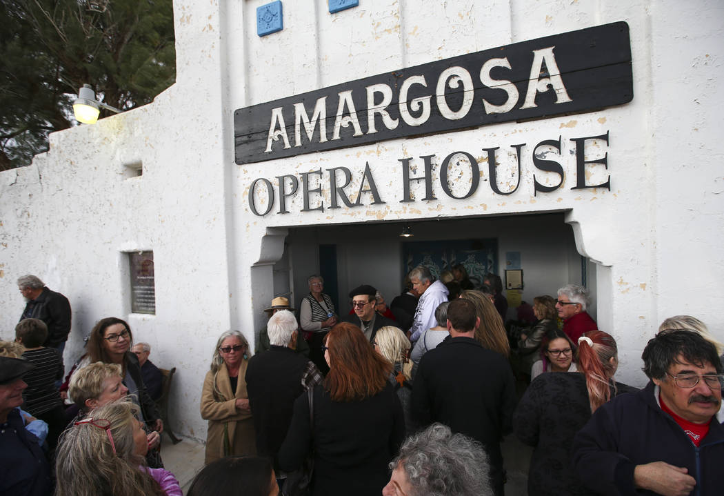 Chase Stevens/Las Vegas Review-Journal People line up to enter the Amargosa Opera House for a celebration of the life of Marta Becket in Death Valley Junction, Calif. on Friday, Feb. 10, 2017. Bec ...