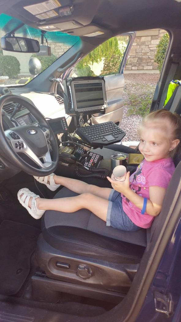 Laura Tynan/Special to the Pahrump Valley Times Writer Laura Tynan is expressing a heartfelt thank you to the Nevada Highway Patrol, which among other things, gave her 3-year-old daughter the chan ...