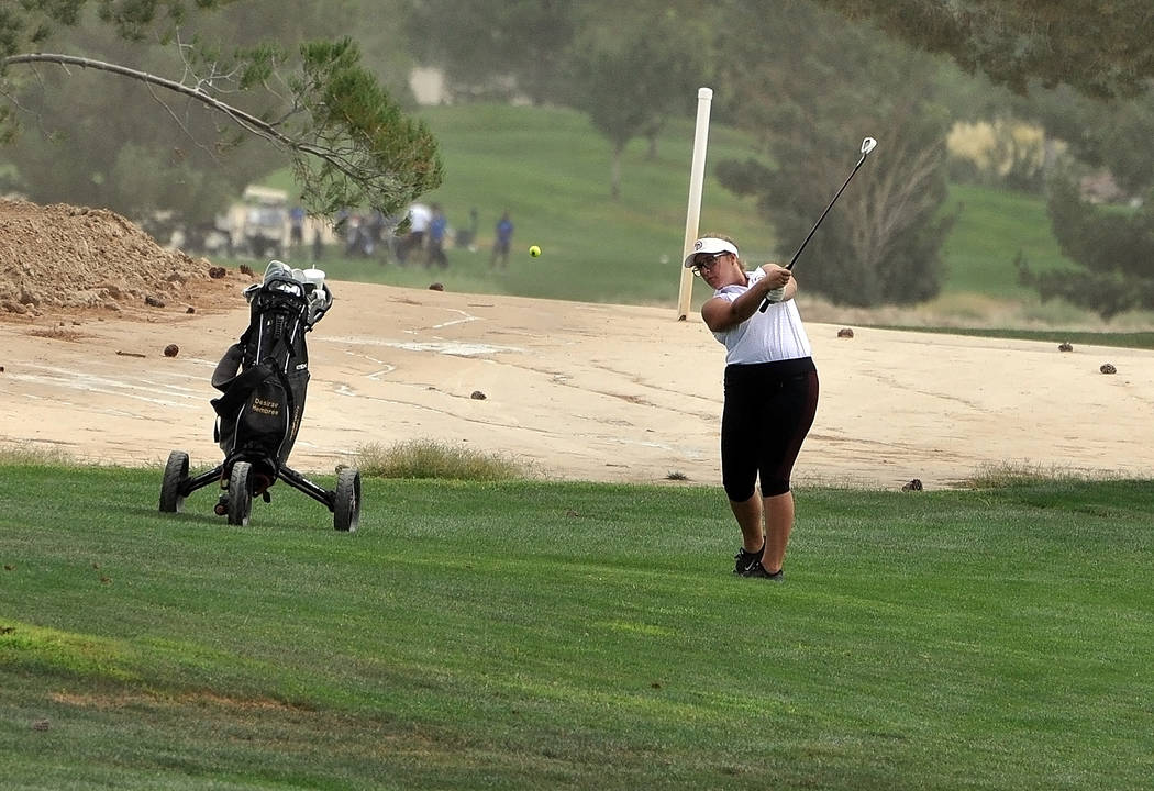 Horace Langford Jr./Pahrump Valley Times  Senior Desirae Hembree finished 13th out of 24 golfers at the Southern Regional championship on Tuesday. Hembree is seen earlier in the year at Mountain F ...