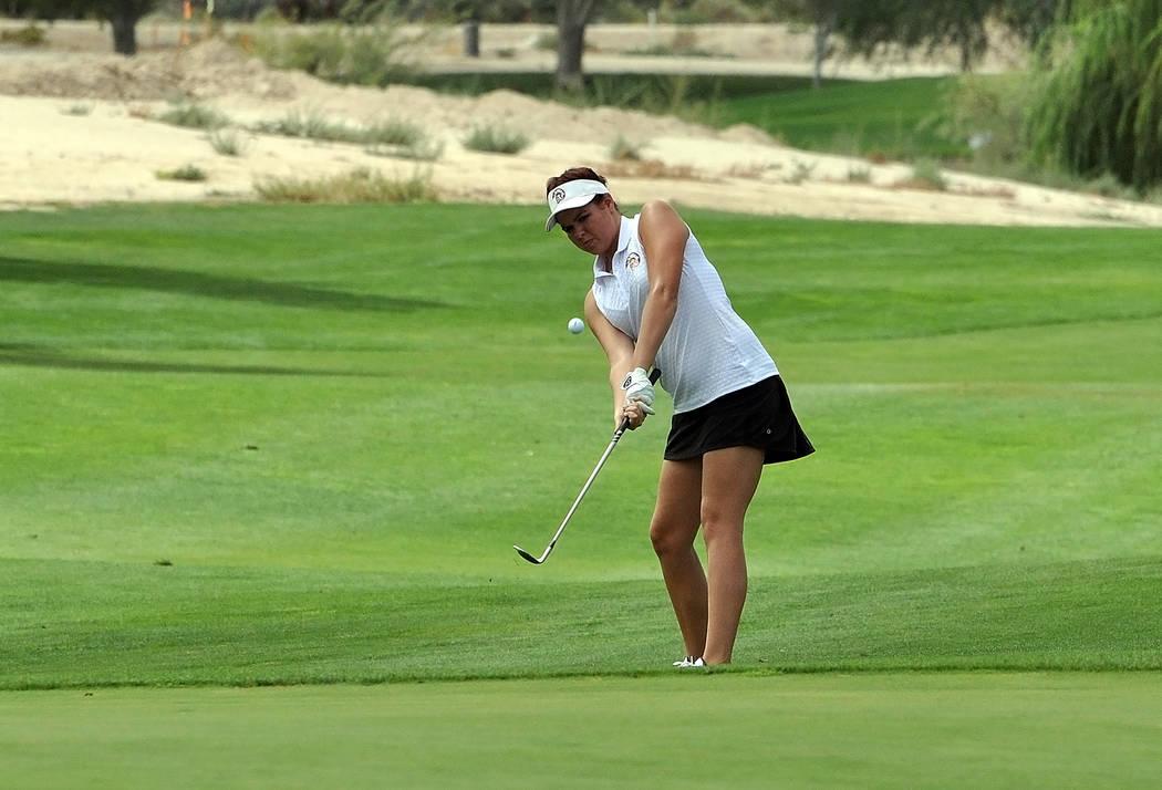 Horace Langford Jr./Pahrump Valley Times  Junior Makalea Petrie is seen on the fairway at Mountain Falls at an earlier tournament this year. She finished eighth at the regional tournament on Monda ...