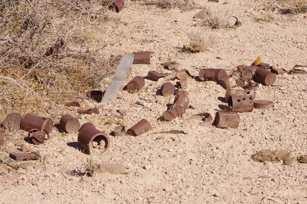 Vern Hee/Pahrump Valley Times   The souvenir stand at SNORE. No, just kidding. This is something you could see if you go into the desert to watch an off-road race. And this is not garbage. The can ...