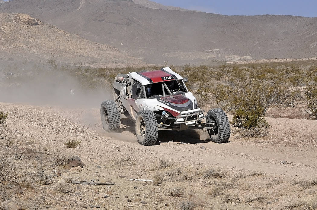 Horace Langford Jr./Pahrump Valley Times  A SNORE buggy racer makes his way to the main road in the SNORE 250, which was last Saturday, Oct. 7.