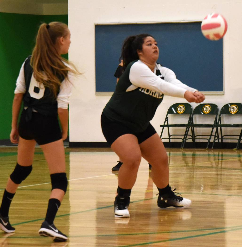 RRichard Stephens/Pahrump Valley Times  Adriana Gil shows off her defensive skills against Sandy Valley. The Hornets are on a five-game winning streak going into the homecoming game on Friday.