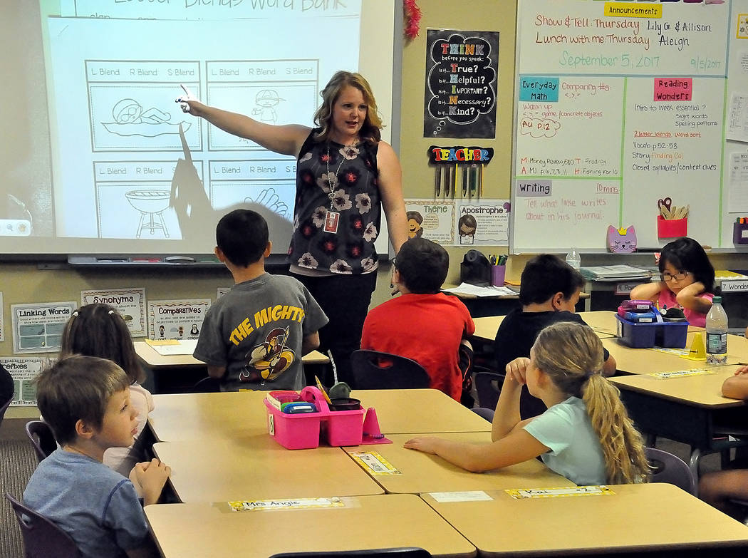 """Horace Langford Jr./Pahrump Valley Times -  At Manse Elementary School, Ms. Jamie Carroll's second grade classroom demonstrates PBIS. Carroll uses lots of praise when speaking to her class. """"I ..."""