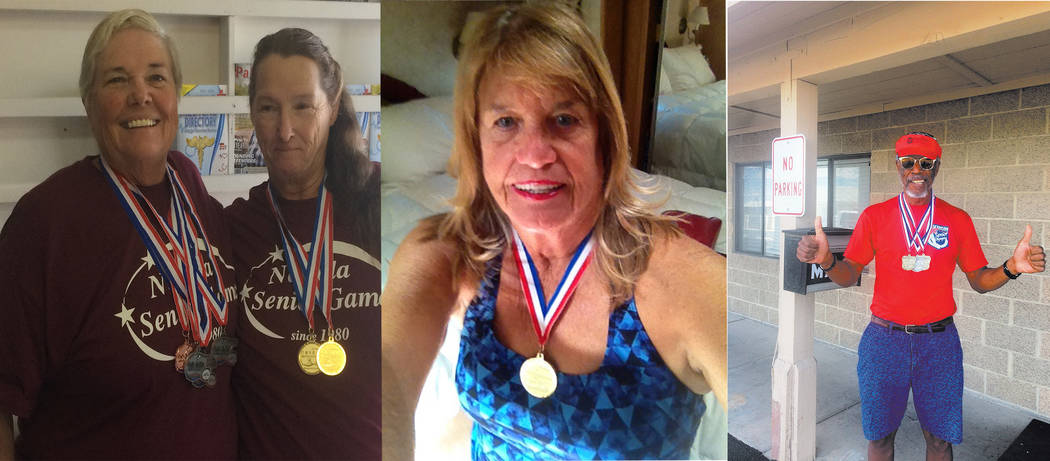 Special to the Pahrump Valley Times Pahrump seniors participated in the Nevada Senior Games, coming away with a handful of medals. From left to right, swimmers, Susan Zink, Debra Moore, Cathy Behr ...
