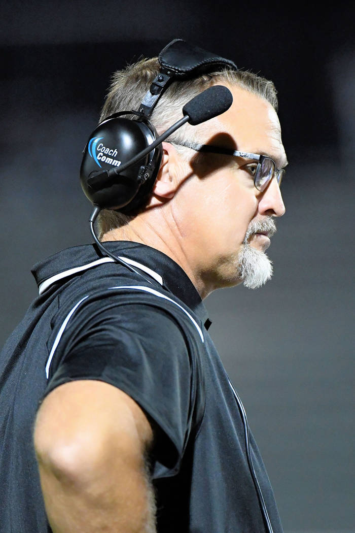 Peter Davis/Special to the Pahrump Valley Times A frustrated coach looks for answers. Joe Clayton's football team had a bad night and couldn't contain the Miners offense, who had 390 yards aga ...