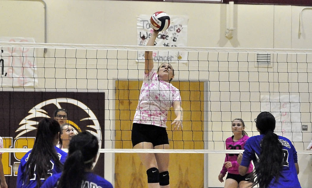 Horace Langford Jr./Pahrump Valley Times -  Kylie Stritenberger gets some air against Desert Pines on Monday night. The sophomore middle blocker had 13 kills.