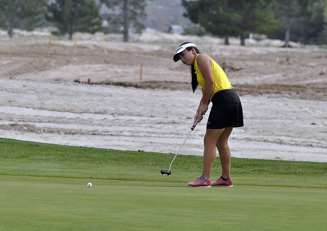 Horace Langford Jr./Pahrump Valley Times  Trojans freshman golfer Breanne Nygaard took two holes to settle down, and was able to still finish with a 6-over-par 78 after two double bogies on the fi ...