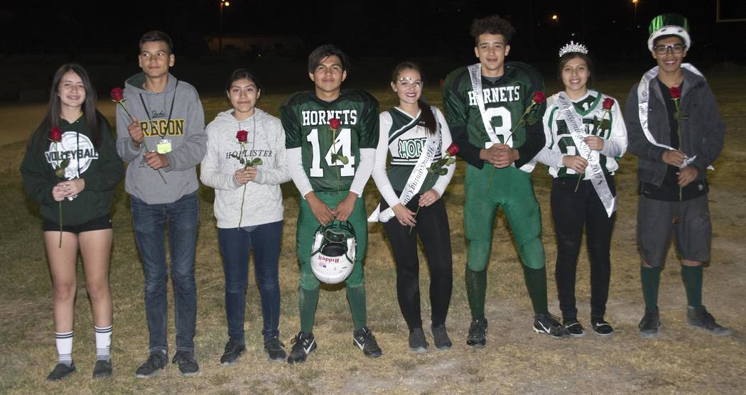 Beatty High School homecoming court from left to right: Second Attendants (freshmen) Aphrodite Salazar and Alfonso Sandoval; First Attendants (sophomores) Jocelyn Hernandez and Efrain Villanueva;  ...