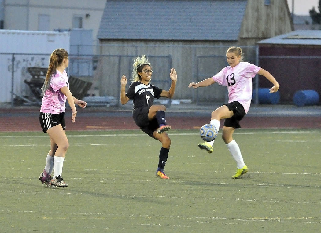 Horace Langford Jr./Pahrump Valley Times  Junior attacking midfielder Beatrice Favella intercepts a pass from Cheyenne. The Trojans dominated the Desert Shields on Wednesday night in every aspect  ...